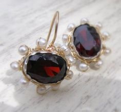 Red Zircon & Pearls Mandala Earrings  http://www.yifat-bareket.com/store/earrings.html/