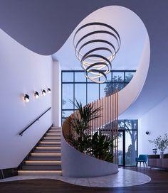 Staircase Interior Design, Spiral Stairs Design, Luxury Staircase, Home Stairs Design, Stairs Architecture, Dream Home Design, Modern House Design, Interior Architecture, Modern Stairs Design