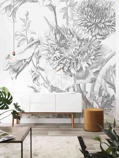 Wall Mural Engraved Flowers, x 280 cm - KEK Amsterdam Home Decor Signs, Home Decor Styles, Cheap Home Decor, Wallpaper Panels, Wall Wallpaper, Bedroom Murals, Wall Murals, Amsterdam, Entryway Decor