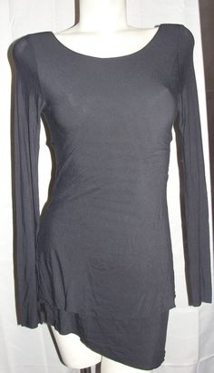 Lucy Top Women's Size M Black Fitness Yoga Asymmetrical Hem Open Back LS Shirt #Lucy #ShirtsTops