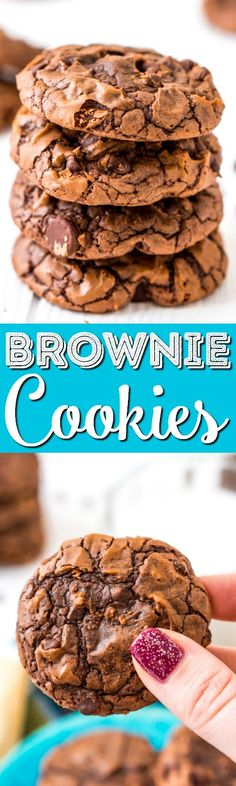 These Brownie Cookies are made from an adapted brownie box mix and are loaded with chocolate chips! They have a crisp outer edge and chewy fudge center just like a classic brownie! via @sugarandsoulco