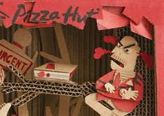 Pizza Hut, Behind Every Box -Hungry WorkersTo reveal the stories behind Pizza Hut Delivery orders, we crafted a series of insightful thematic posters that were drawn and cut by hand using real Pizza Hut boxes.Pizza Hut is a popular casual dining resta… Cardboard Sculpture, Cardboard Art, Paper Art, Paper Crafts, Pizza Hut, Stop Motion, Creative Art, Illustrators, Ads