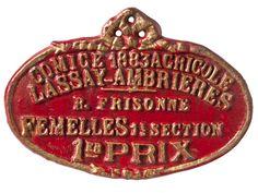 Relique - Vintage Cast Iron French Award Plaque - 1878 Agriculture Prize