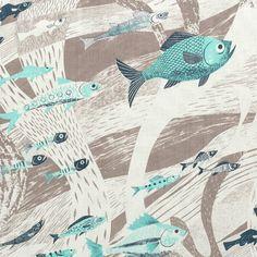 St Jude Fabric, Deep Sea, Aqua /Smoke Grey by Emily Sutton