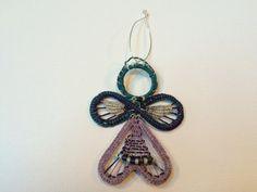 Angel Ornament  Woven Handmade Fiber Art by Sheripineneedle