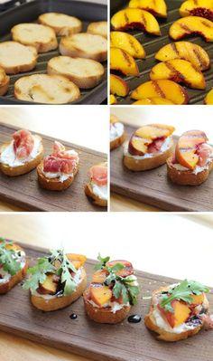 Grilled Peach + Prosciutto Crostini // Cooking Steps  // Le Partie Sugar