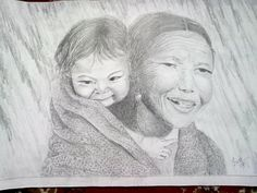 mother's smile with her child - Sketching by Sushma Pradhanang at touchtalent
