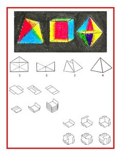 """SMALL ENVELOPE TETRAHEDRON (Note that a regular business size envelope does not work.)  1) Open the flap of a small envelope. Using a ruler and pencil, mark the diagonal lines from each corner to the opposite corner. Mark a third vertical line through the middle of the envelope. Fold along each of the lines.  2) Cut along the top two """"V"""" shaped lines and discard the top of the envelope.  3) Open up the envelope, flattening the bottom a bit. Tuck one side of the envelope into the other side. Waldorf Math, Small Envelopes, Homeschool Math, Origami, Logos, Ruler, Third, Projects, Middle"""