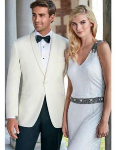 Adorable and stunning one button shawl lapel ivory wedding tuxedo for men. Tuxedo Wedding, Ivory Wedding, Wedding Suits, Wedding Tuxedos, Dress Slacks, Mens Dress Pants, Parker Hurley, Royal Blue Suit, Tuxedo Rental