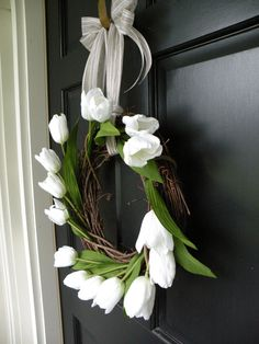 simple white tulip wreath