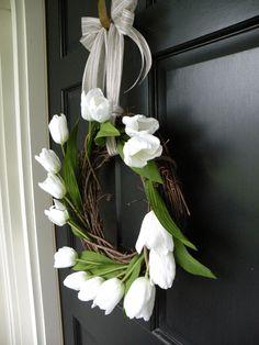 simple white tulip wreath