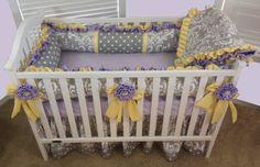 Custom Baby Crib Set Grey Damask Dot/Lavender by BabyCarSeatCovers, $579.95