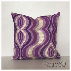 """Vintage Retro Purple Psychedelic Fabric Cushion Cover 16"""" x 16"""""""