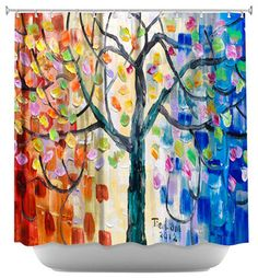 Shower Curtain Artistic - Surreal Blossom Tree - modern - Shower Curtains - DiaNoche Designs