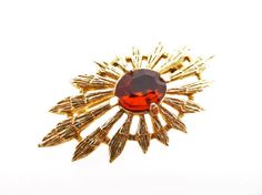 Signed Sarah Coventry Vintage Amber Rhinestone and Gold Tone Sun Ray Brooch