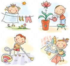 Buy Kids helping their Parents by katya_dav on GraphicRiver. Kids helping their parents with the housework Art Drawings For Kids, Doodle Drawings, Drawing For Kids, Cute Drawings, Doodle Art, Yoga For Kids, Art For Kids, Clipart, Stick Figure Drawing