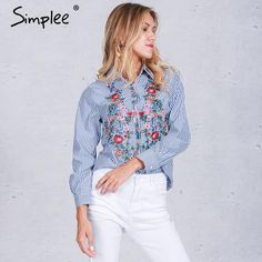 Embroidery female blouse striped shirt cool long sleeve blouse women tops blusas