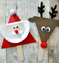 Christmas / Activities / Santa and reindeer stick puppets Kids Crafts, Preschool Christmas Crafts, Christmas Arts And Crafts, Santa Crafts, Diy And Crafts Sewing, Christmas Activities, Simple Christmas, Christmas Projects, Christmas Themes