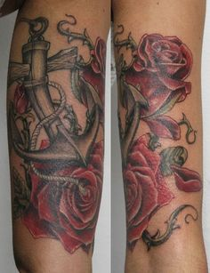 anchor and roses - 35 Awesome Anchor tattoo Designs  <3 <3