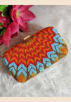 *Extremely Beautiful Handmade Clutches* It complete handmade work of small motis. Color customisations possible Price for one side Price for two side work: Make to order Hand Embroidery Videos, Embroidery Bags, Silk Ribbon Embroidery, Beaded Purses, Beaded Bags, Bridal Clutch, Mode Chic, Sewing Art, Bead Crochet