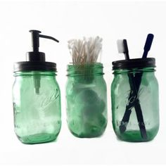 Green Mason Jar Bath Set Ball Jar Bath Set Mason Jar Soap Dispenser... ($27) ❤ liked on Polyvore featuring home, bed & bath, bath, bath accessories, lid holder, sample jars, green toothbrush holder, colored jars and green bath accessories