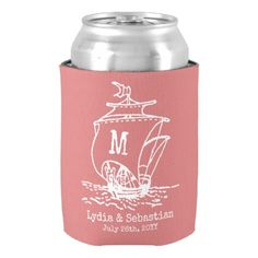 Monogrammed Wedding Couple Vintage Ship | Coral Can Cooler - engagement gifts ideas diy special unique personalize