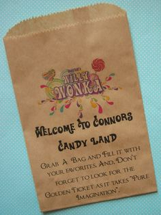 25 Small Brown Kraft Bags, Willy Wonka Bags, PERSONALIZED bags, Favor bags 5 x 7 1/2 inches by WrapupthePartyShop on Etsy https://www.etsy.com/listing/174343621/25-small-brown-kraft-bags-willy-wonka