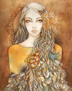 Beautiful Swirl Watercolor, Graphite and Colored Pencil Illustration.
