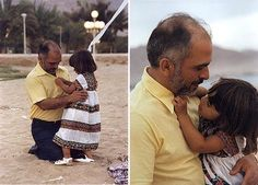 I adore this photo of King Hussein of Jordan with his little daughter, Princess Haya doing his shirt buttons up.