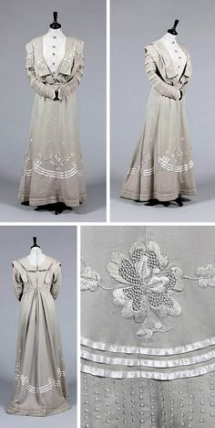 """A dove gray wool day dress, ca. 1910, with chemical lace chemisette, pintucks, floss silk-embroidered hem and lapels. Labelled """"Anderson's Royal Polytechnic Warehouse Ltd, Glasgow,"""" which may have been the retailer. Kerry Taylor Auctions/Artfact"""