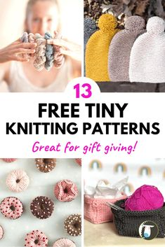 13 FREE Small Knitting Projects that Make Great Gifts! Quick and easy tiny knitting patterns include a bandana, hat, small basket, mini donuts, tiny purse keychain, hair scrunchies, bracelet, dog sweater, baby booties, rings, socks, and coin purse! Knitting Patterns Free, Free Knitting, Knitting Ideas, Aran Weight Yarn, Sport Weight Yarn, Small Knitting Projects, Small Dog Sweaters, Sock Yarn, Mini Donuts