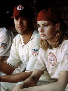 """Dottie Hinson (Geena Davis) and Jimmy Dugan (Tom Hanks) in """"A League of Their Own"""" - Dottie: """"I quit! This is too hard!"""" Jimmy: """"It's SUPPOSED TO HARD! If it weren't hard everybody would do it! Tom Hanks, Geena Davis, Love Movie, I Movie, Movie Stars, Baseball Movies, Divas, No Crying In Baseball, Image Film"""