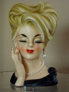 PARMA a174 Vintage Lady HEAD VASE with by grandmatilliesbakery, $175.00