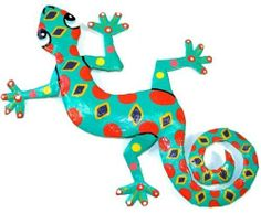 Eight Inch Spotted Metal Gecko by GIFTS WITH HUMANITY. $23.01. This gecko is handmade in Haiti from recycled oil drums. Each has a small hook to hang the piece and is painted with a bright colorful design inspired by the local Hatian culture. From head to tail, the gecko is 8 inches long.