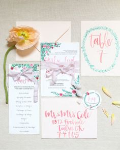 Here are some adorable watercolor invitations! | Colorful Rustic Oklahoma Wedding at The Springs | Kirby + Jared | Aaron Snow Photography | #bridesofok #oklahomabride #invitations