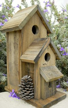 Your birds will appreciate this natural bird house made of old rustic wood. The wood is weathered pine and the house is accented with 3 real pinecones to make your birds feel right at home; one on each side, and one on the back.    Great as outdoor decor for any areas such as gardens and patios, rock gardens, posts, fences and walls. As with all my bird houses, this is a new item and has never been used, making it great for indoor decor as well.  (**If used inside please let me know and I…