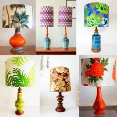 Vintage Lamps + Bold Vintage Fabric Shades