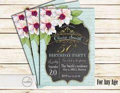 Adult Birthday Invitation / Digital Printable by MyPrintableInvite