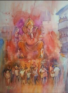 30 Traditional Indian Art Paintings on Canvas Cartoon District Lord Ganesha Paintings, Ganesha Art, Krishna Art, Indian Artwork, Indian Art Paintings, Mysore Painting, Festival Paint, Composition Painting, Madhubani Art