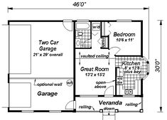 Country Style House Plan - 1 Beds 1 Baths 572 Sq/Ft Plan #18-1041 Floor Plan - Main Floor Plan - Houseplans.com