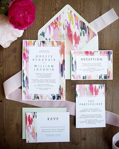 The colorful & modern Odette wedding invitation suite. Abstract art for the win!