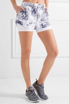 Adidas by Stella McCartney - Run Layered Climalite Printed Shell And Jersey Shorts - White -