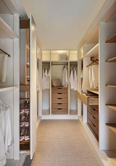 Walk-In Closets. Large or small, a walk-in closet is a room all its own. A high-quality door and drawers, installed accessories, finishes, lighting, and layout options create a custom-designed and organized space that is a joy to use every day. #walkincloset #walkclosetideas #closetideas