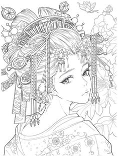 NEW Masquerade Coloring Book Custome play Chinese coloring Fairy Coloring Pages, Adult Coloring Book Pages, Coloring Books, Manga Coloring Book, Coloring Sheets, Girl Drawing Sketches, Art Drawings, Anime Lineart, Princess Coloring