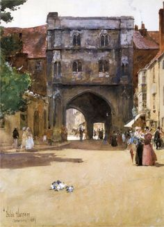 Gateway at Canterbury – Childe Hassam – Oil Painting Reproductions and Prints from Canvas Replicas Canterbury, Claude Monet, Kunsthistorisches Museum, Art In The Park, American Impressionism, Expositions, Oil Painting Reproductions, East Hampton, Illustrations