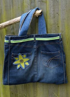DIY Denim Knitting Tote Bag or for anything else that you might like to put things in