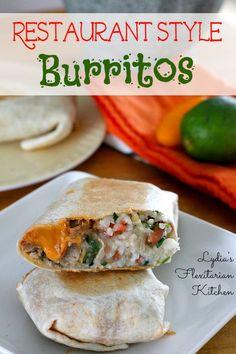Restaurant Style Burritos ~ Lydia's Flexitarian Kitchen