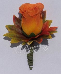 Orange Rose Bud Boutonniere with Fall Leaves- 1 Rose Amore Collections http://www.amazon.com/dp/B00JJTT8C4/ref=cm_sw_r_pi_dp_qJhMtb14312SDDKS