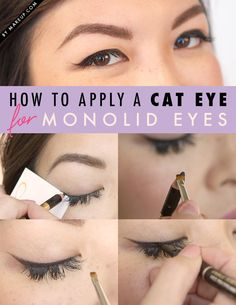 Applying eyeliner is different depending on what kind of shape your eye is. For example, the monolid: With this eye shape, first keep the liner as close to the lash line as possible, and then go for a thick, elongated wing. See our guide for other eye shapes!
