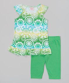 Green Circles Tunic & Leggings - Girls by S.W.A.K. #zulily #zulilyfinds